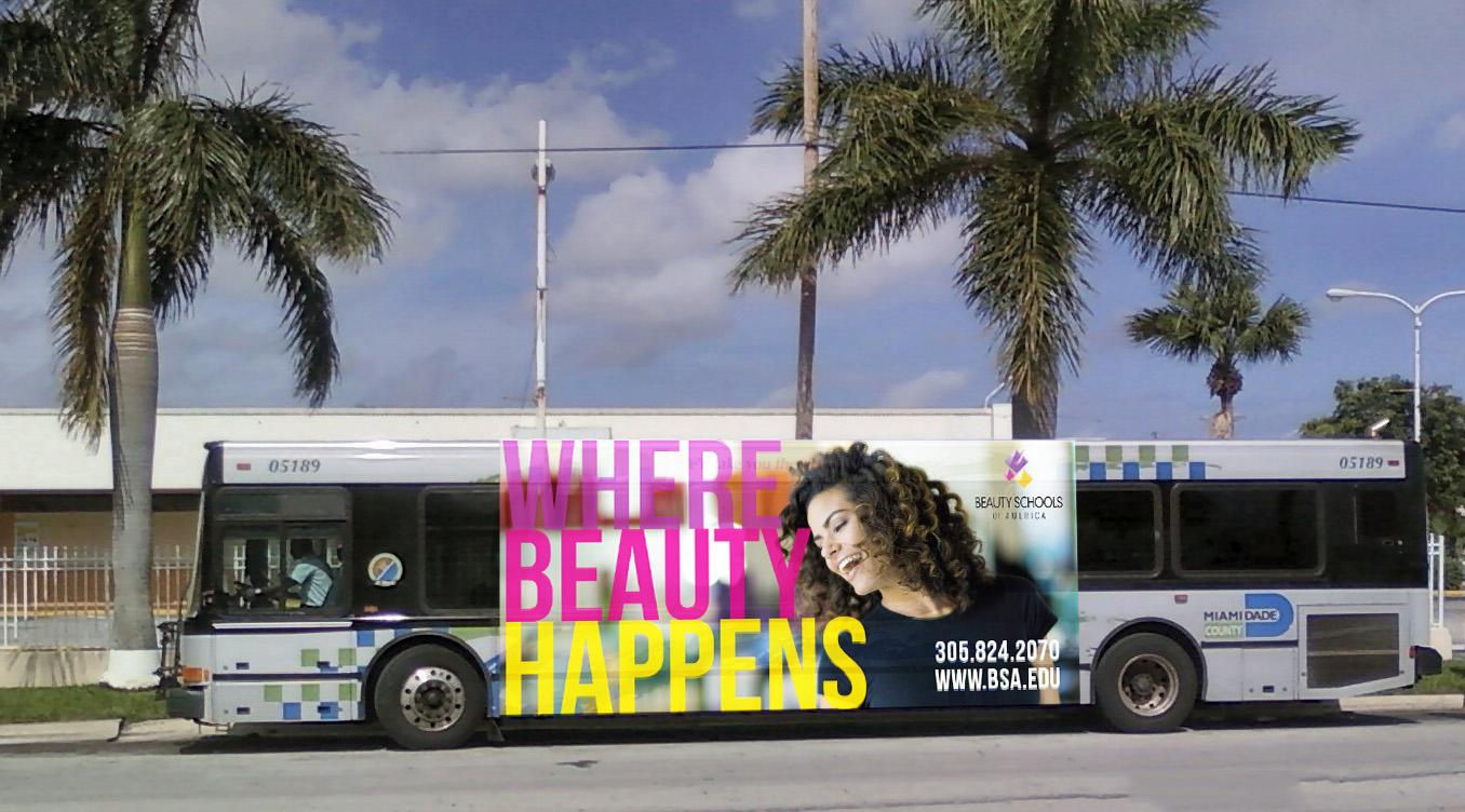 Beauty Schools of America Outdoor Banner BSA Bus