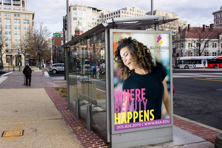 Beauty Schools of America Outdoor Banner BSA Busstop